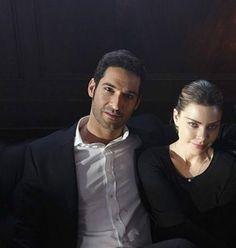 Tom Ellis as Lucifer and Lauren German as Chloe on Lucifer