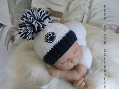 Penn State University Colors Beanie Hat in by babyknitsnfrills, $15.25