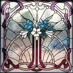 art stained leaded glass art nouveau calla lily lilies window Amy Miller