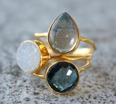 Not as fancy as my Marco rings, but I love the colors!  Must order.  Gemstone Stacking Rings  Set of Rings  You choose 3  by OhKuol, $145.00