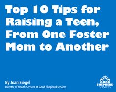"""Top 10 Tips for Raising a Teen, From One Foster Mom to Another"": The following is part of a speech by Joan Siegel, Director of Health Services, at our event celebrating foster parents. In her speech, Joan generously shared her experience as a mother who adopted her daughter from the foster care system. [05.03.13]"