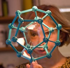 Zometool Dodecahedron with blue nodes (instead of the regular white ones)
