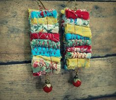 Bohemian Fiber Earrings Upcycled Jewelry by GallimaufryClothing, $14.00