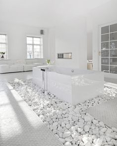 Bathroom with white stones