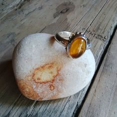 SMELT | Hello Pretty. Silver band with an oval amber setting. #Ring#Handmade