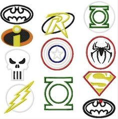 TWELVE Design Superhero SET Machine Applique Embroidery Designs, Multiple sizes including half, 1, 2, 4, 7, and 10 inch
