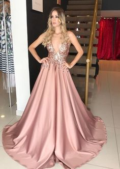 Gorgeous Ball Gown V Neck Spaghetti Straps Blush Sequins Lace Long Prom Dresses, Elegant prom dresses 2019 formal dresses for teens v neck tulle long 2019 evening dresses party gowns Sequin Evening Dresses, Evening Party Gowns, A Line Prom Dresses, Wedding Dresses, Party Dresses, Vestido Rose Gold, Elegant Dresses, Formal Dresses, Ivory Formal Dress