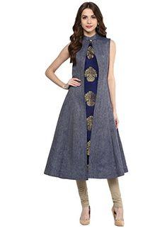 8dab4ced28 Aahwan Indian Kurtis for Women Blue Denim and Taffteta Silk A-line  Sleeveless Calf Long