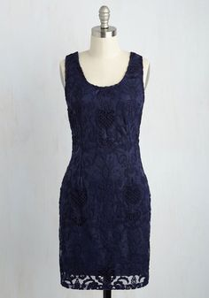 A navy sheath dress is essential to many wardrobe styles and types, but this alluringly accented frock is absolutely 'you'! Indulgently embroidered and boasting lattice-like appliques from the scoop neck, to the V-back, to the sheer hem, this gold-zipped piece is finely-tuned for your divine tastes.