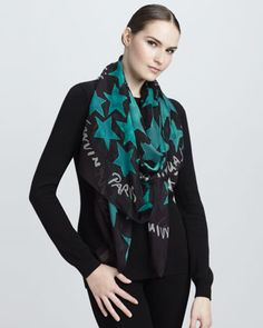 "Star-Print Chiffon Scarf, 55"" by Lanvin at Neiman Marcus.#NMFallTrends"