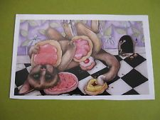 cat eating sweets by Julie McDoniel large sticker(free ship $20 min)