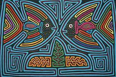 A delightful artistic geometric abstract applique of angel fish, mirror images, with great color combinations, created by a Kuna Indian from the San Blas Islands.  asmatcollection on ebay and Bonanza.com cheetahdmr@aol.com
