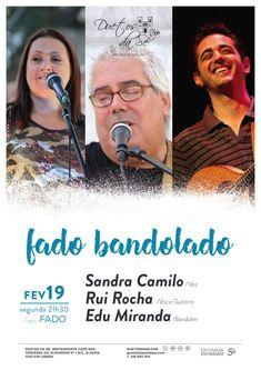 """""""Duetos da Sé"""", #Alfama #Lisboa #Lisbon - SEGUNDA-FEIRA 19 DE FEVEREIRO 2018 – 21H30 - #CONCERTO """"IN #FADO"""" - """"FADO BANDOLADO"""" - Sandra Camilo (voz), Rui Rocha (voz e guitarra) & Edu Miranda (bandolim) - O duo Sandra Camilo e Rui Rocha convidam o Edu Miranda para o projecto fado bandolado. Um pequeno passeio por canções Portuguesas de grandes autores e interpretes.  Desde o Fado, à famosa """"canção ligeira"""", passado por temas originais e os grandes clássicos..."""