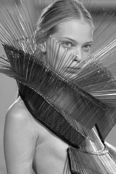Conceptual Fashion - spike dress with dramatic structural design - wearable art; 3D fashion // Iris van Herpen