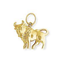 Jewelco London Oro 9 Carati TAURUS ZODIAC STAR SIGN Charm Ciondolo Astrology