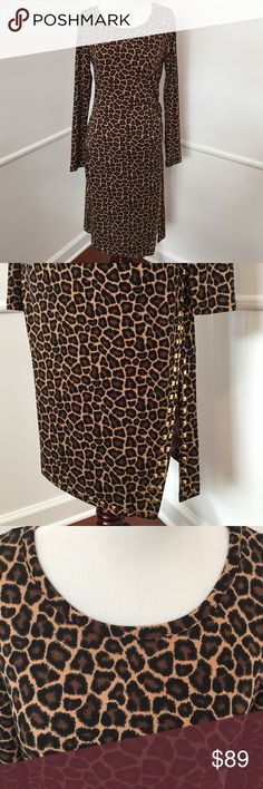 MICHAEL Michael Kors Leopard Dress!! Brand new with tags!!! Gorgeous leopard print with scoop neck and long sleeves. Fits like a glove! Ruched on left side and gold studded detail on hen and up the side slit on left side. As seen in picture. 95% Polyester 5% Elastane MICHAEL Michael Kors Dresses