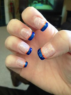 Broncos nails!!!! GO DENVER!! #broncosnails