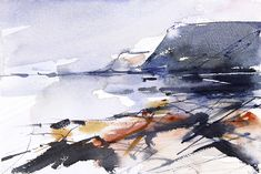 Beach at Port Mulgrave. Expressive semi abstract watercolour seascape by Adrian Homersham. Loose watercolour painting.