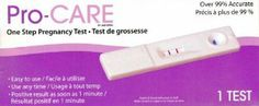 Pro-care One Step Pregnancy Test, Easy to Use (3-pack) by Procare. $2.49. Test results are valid for 10 minutes after the test!. Health Canada Licensed. Positive Result as soon as 1 minute. 3 Tests included. Over 99% Accurate.. The Pro-Care Pregnancy Test is NOT reusable. The test works only if the instructions are followed carefully. Check with your physician if you get unexpected results.  Expiration date : September 2014
