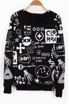 1dbf4b88691 SHEIN offers Black Long Sleeve Sign Print Pullover Sweatshirt   more to fit  your fashionable needs.