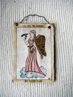 primitve watercolor fraktur of an angel on by primitivehand, $38.00