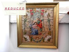 Antique French Tapestry. Religious Vintage by AngelFrenchAntiques