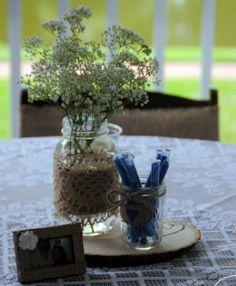 Table Centerpiece - Mason Jar - Wood - Baby Breath