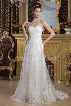 Bridesire - Etui-Linie Herz-Ausschnitt bodenlang Sweep/Pinsel Zug ärmellos Chiffon Brautkleid [BDH1596] - €175.48 : Bridesire