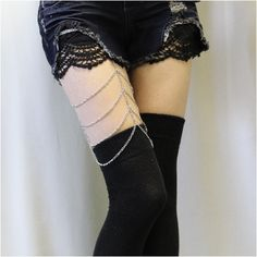 ROCKER thigh high stockings - black