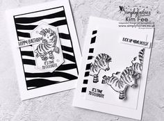 Fabulous fun cards using a great strippy Scraps Paper Technique, and bouncing Zebras using Wobblers, Check out blog post/video how to. Fun Fold Cards, Cool Cards, Bone Folder, Easel Cards, Time To Celebrate, Zebras, Stampin Up Cards, Product Launch, Paper Crafts