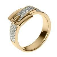 Michael Kors Pavé Buckle Ring, Golden - Size 7