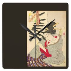 A vintage Japanese woodblock print, this one showing a geisha holding a large traditional parasol, perhaps protecting herself from harsh sun. Add the graceful beauty of Asian art to your decor.