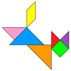 Tangram Cat jumping - Tangram solution #90 - Providing teachers and pupils with tangram puzzle activities