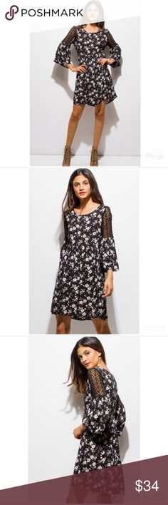 NWT Black Floral Boho Lace Mini Dress SZ M Size: Medium Bust:  Waist:  Length: Condition:New  - Smoke/Pet Free How I Roll: No Trades/ No offsite Monkey Business/ I Love Bundles & Offers/ Please Ask Questions if you have them!  *All measurements taken while item is laid flat and across the front.   Thank you for stopping by my closet! # priscillas_posh Dresses