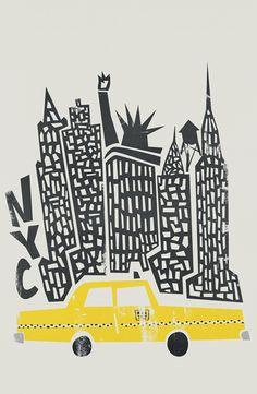 new york poster New York Cityscape as Premium Poster by Fox amp; New York Poster, City Poster, Poster S, New York Illustration, Travel Illustration, Illustration Artists, City Framed Art, Framed Art Prints, Canvas Prints