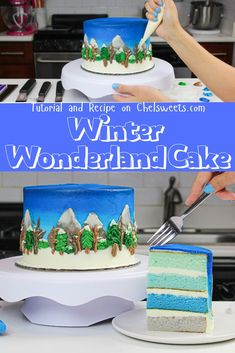 This winter wonderland cake is stunning! It uses maple frosting to create a landscape studded with snow-dusted mountains, and evergreen and deciduous trees Maple Frosting, Vanilla Buttercream Frosting, Snow Cake, Maple Cake, Winter Wonderland Cake, Christmas Tree Cookies, Christmas Treats, Piping Frosting, Painted Cakes