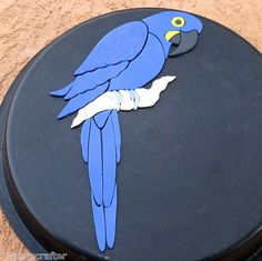 Hyacinth Macaw Parrot stained glass precut inlay kit. Original design. Selling on eBay Great for your mosaic project