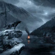 Dark wolf over winter river