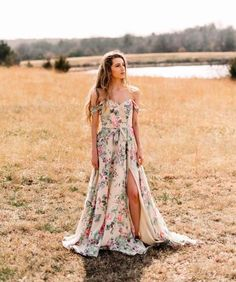 Boho Beauty for your Bridesmaids with this Morilee | Madeline Gardner Floral Bridesmaid Dress.  With draped off the shoulder straps and a high slit, the skirt is relaxed and flowy.  Style 21528, available in 36 colors/ prints.