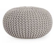pouf in cotone tricot bini grigio d 55 cm salottino. Black Bedroom Furniture Sets. Home Design Ideas