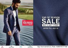 Get your hands on the most dashing menswear in the city and that too at unbelievable prices !  Drop by TODAY at The Raymond Seconds Shop - Paldi and avail our 'End of Season Sale' offer :)  #EndofSeasonSale #EOSS #Menswear #Discounts #Ahmedabad #Raymond #Gentleman #Clothing #Suits #Shirts #Pants #Trousers