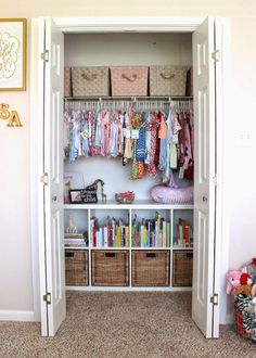 Find the best Nursery Closet organization ideas! Get the top storage and / or organization ideas to make your nursery clutter free and tidy. Unique and creative Nursery Closet storage ideas Nursery Closet Organization, Bedroom Closet Storage, Home Organization, Organizing Ideas, Clothing Organization, Wardrobe Storage, Organization Ideas For Bedrooms, Kids Closet Storage, Childrens Bedroom Storage