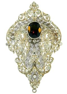 Art Deco Alexandrite, Diamond and Platinum Brooch