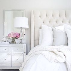 Arhaus linen tufted bed mirrored nightstand target decor white wedding pottery barn pink peonies neutral decor