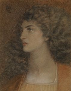 Dante Gabriel Rossetti, British Portrait of Miss Herbert, colored chalks over pencil on buff paper, 24 x 19 cm, private collection Dante Gabriel Rossetti, John Everett Millais, Albert Bierstadt, John William Waterhouse, Alphonse Mucha, Portraits, Portrait Art, Aberdeen Art Gallery, Bonheur