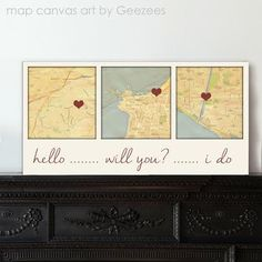 Gift ideas for Him Personalized Couple Gift Custom Map Art using Three Location Wedding Wall Decor, Anniversary Present Valentine's Day by GeezeesCustomCanvas on Etsy https://www.etsy.com/listing/203003582/gift-ideas-for-him-personalized-couple