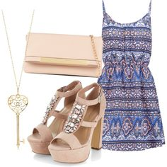 A fashion look from June 2015 featuring print dress, heeled sandals and handbag purse. Browse and shop related looks. Aldo, Polyvore Fashion, New Look, Summertime, Fashion Looks, Purses, My Style, Heels, Bags