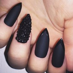 Matte black with gems hand painted fake nails press ons false nails... ($8.23) ❤ liked on Polyvore featuring beauty products, nail care, nail treatments, nails and makeup