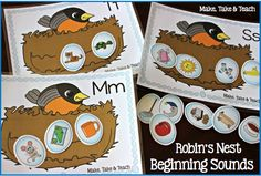 Robin's Nest Activities for Beginning Sounds and Word Families