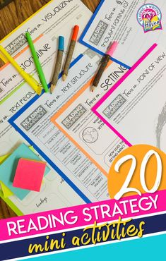 This resource contains 20 mini reading strategy activities that are perfect for skill practice, mini-lesson notes, station activities, and small group work. Students focus on one topic or strategy at a time, and teachers get valuable feedback about how students are thinking about a text. #ReadingActivities #MiddleSchool #HighSchool #ReadingWorkshop Middle School Ela, Middle School English, High School, Reading Comprehension Worksheets, Reading Strategies, Mini Reading, Close Reading, Teaching Reading, Reading Activities